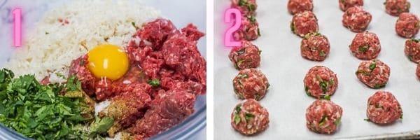 2 fotos de proceso paso a paso de ingredientes de albóndigas y albóndigas en porciones.