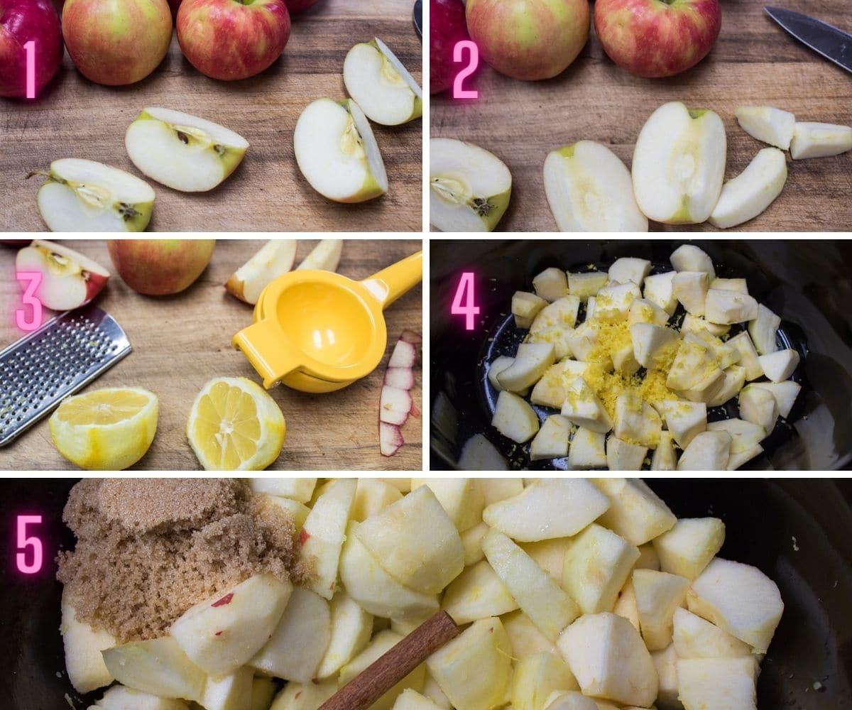 5 step-by-step process photos of preparing the crockpot applesauce.