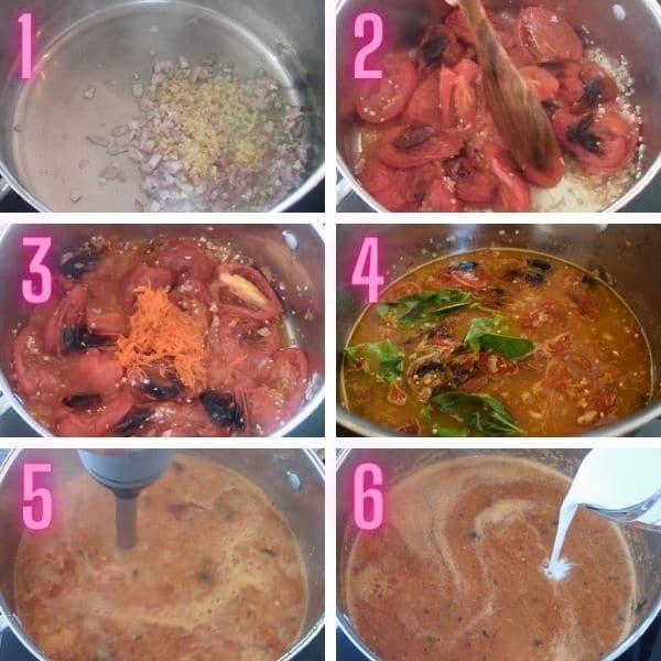 6 trinvise procesbilleder til fremstilling af tomatsuppe.