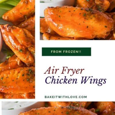 भैंस सॉस में हवा फ्रायर जमे हुए चिकन पंखों की 3 छवियों के साथ कोलाज पिन।
