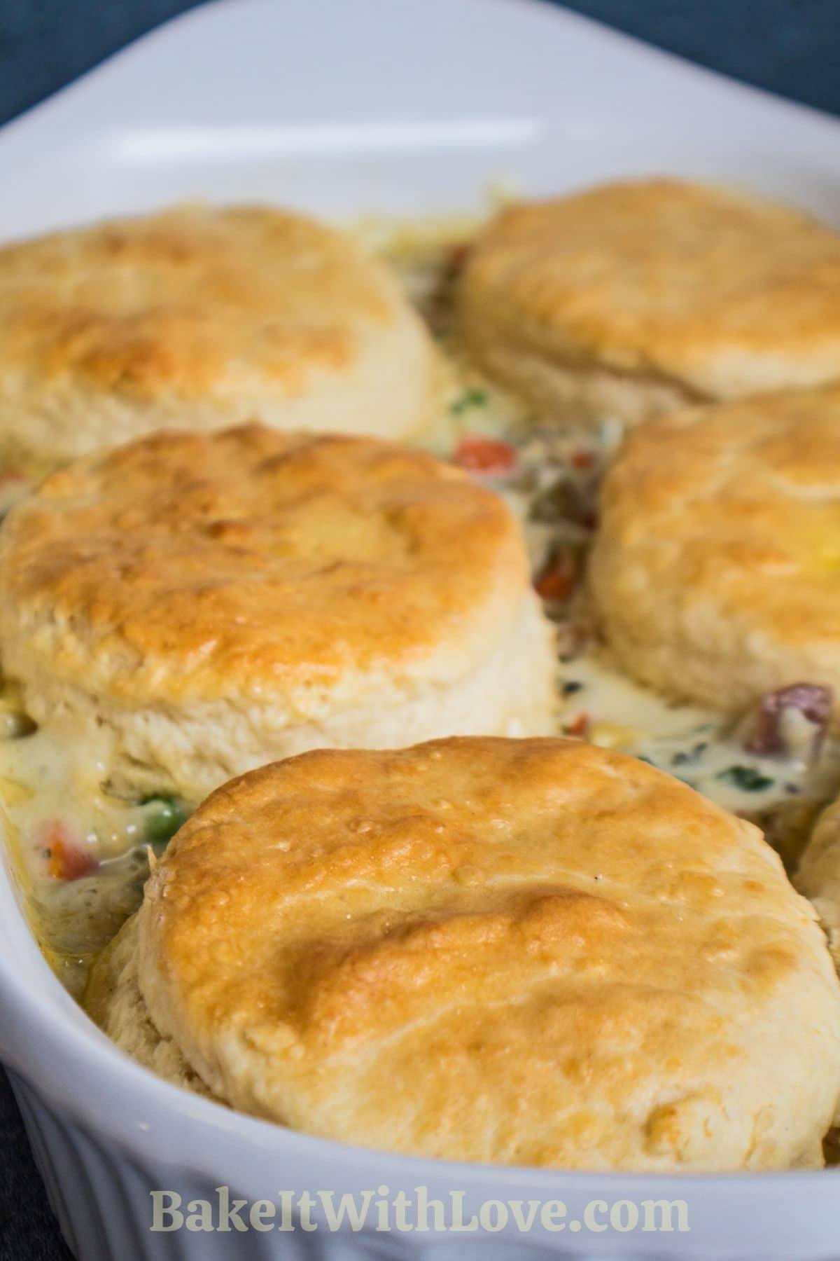 Biscuit chicken pot pie casserole in baking dish.