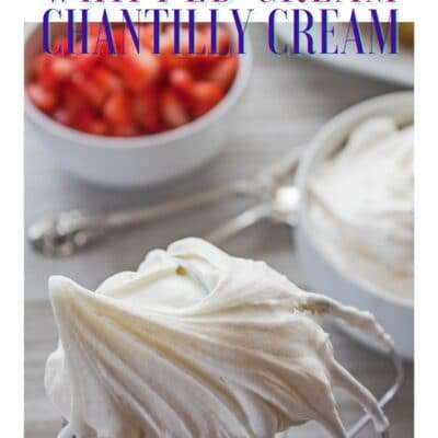 Pin with image of chantilly cream and strawberries with text header.
