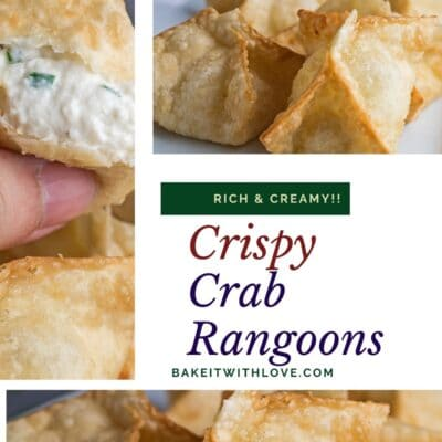 Collage pin with 3 images of the crab rangoons.