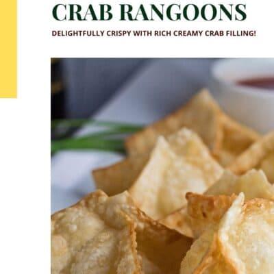 Crab rangoons pin with text header and color block.