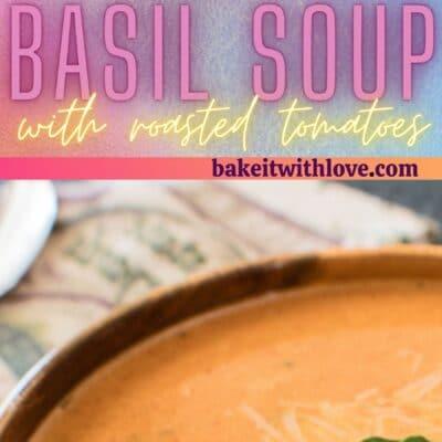 Rall pin med 2 billeder af den cremede ristede tomat basilikum suppe.