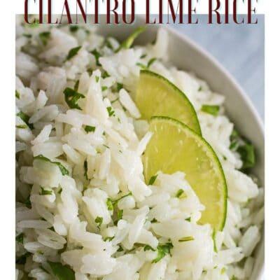 Pin billede med øjeblikkelig pot koriander lime ris og tekstoverskrift.
