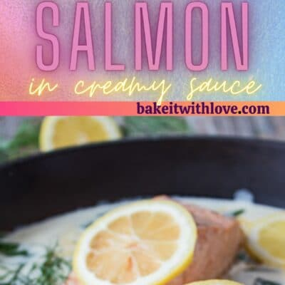 Tall pin with 2 images of the salmon in white wine sauce.