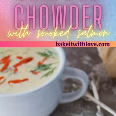 Tall pin with 2 images of the dished seafood chowder with smoked salmon.