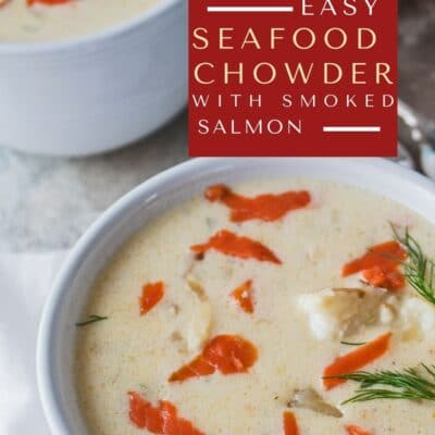 Seafood chowder with smoked salmon pin with text overlay.