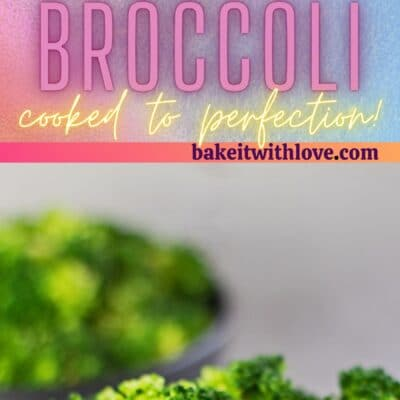Tall pin with 2 images of the microwave steamed broccoli in black bowl.