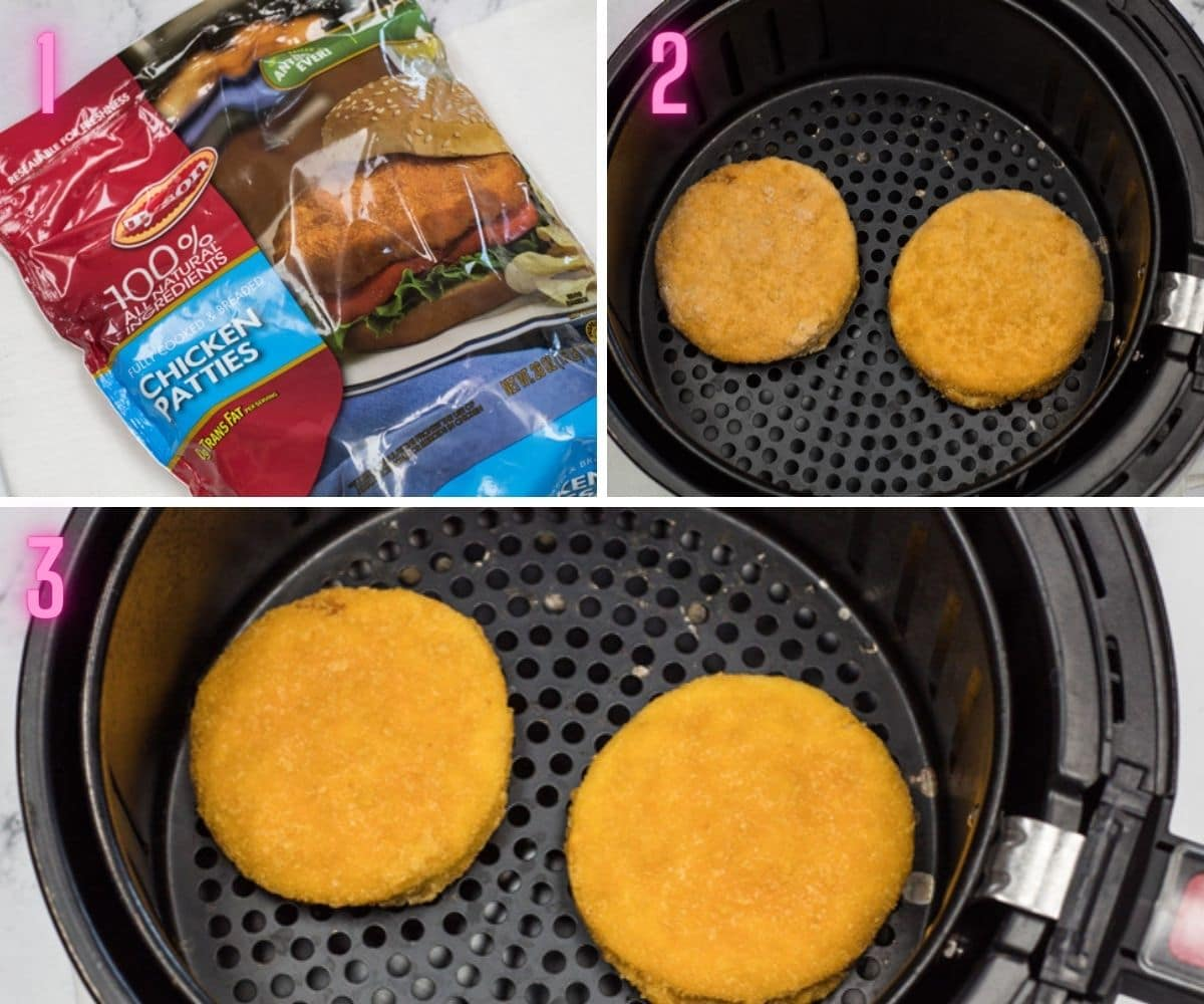3 step by step process photos from packaged to air fried chicken patties.