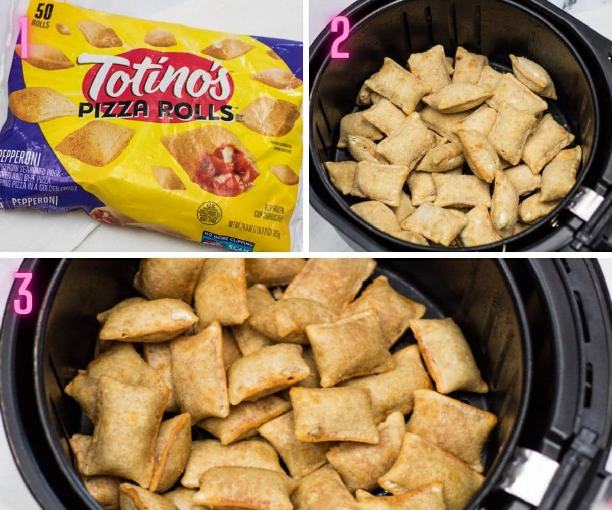 3 step by step process photos of air frying the frozen pizza rolls.