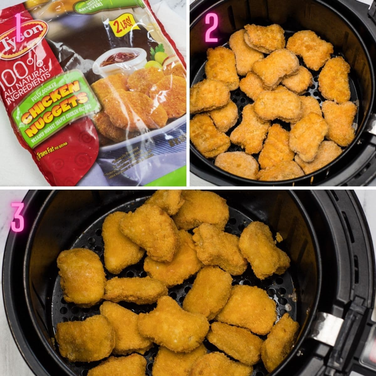 3 step-by-step process photos of cooking frozen chicken nuggets in air fryer.