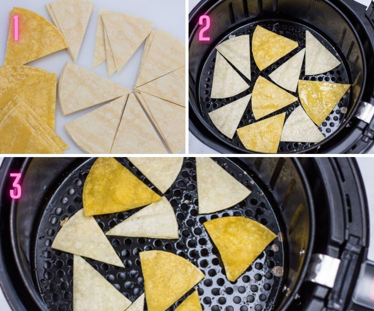 3 trin for trin behandle fotos af tilberedning af frituregryder tortilla chips.
