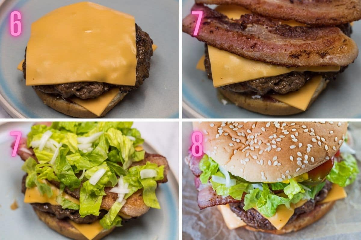 4 travis scott burgerinin montajının adım adım işlem fotoğrafları.