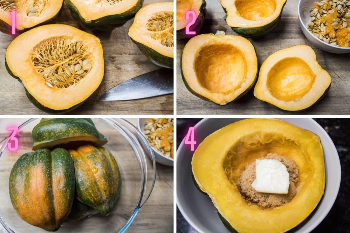 4 steg för steg bearbeta foton för att förbereda och mikrovågsugn kokning ekollon squash.