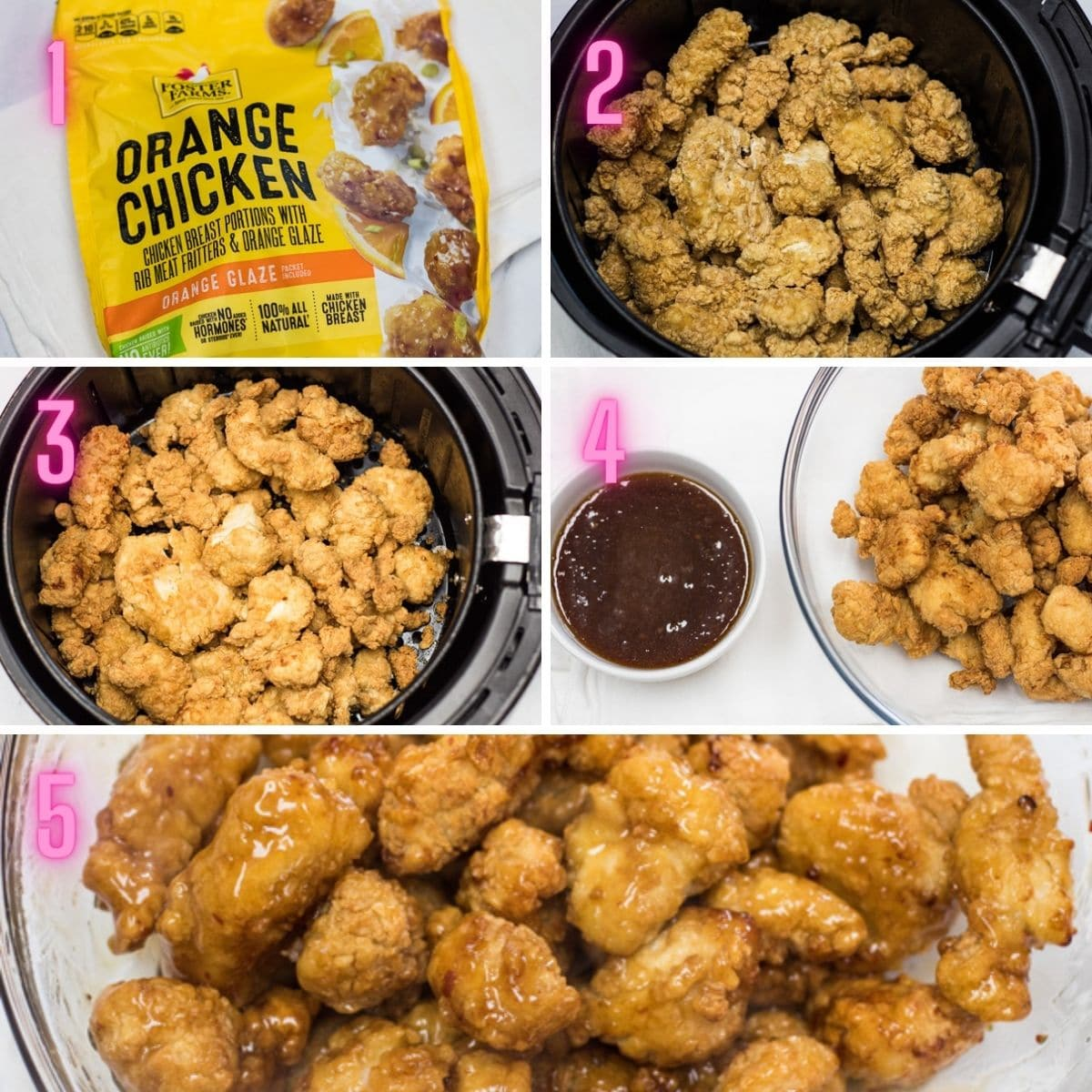 5 step by step photos of cooking the air fryer frozen orange chicken.