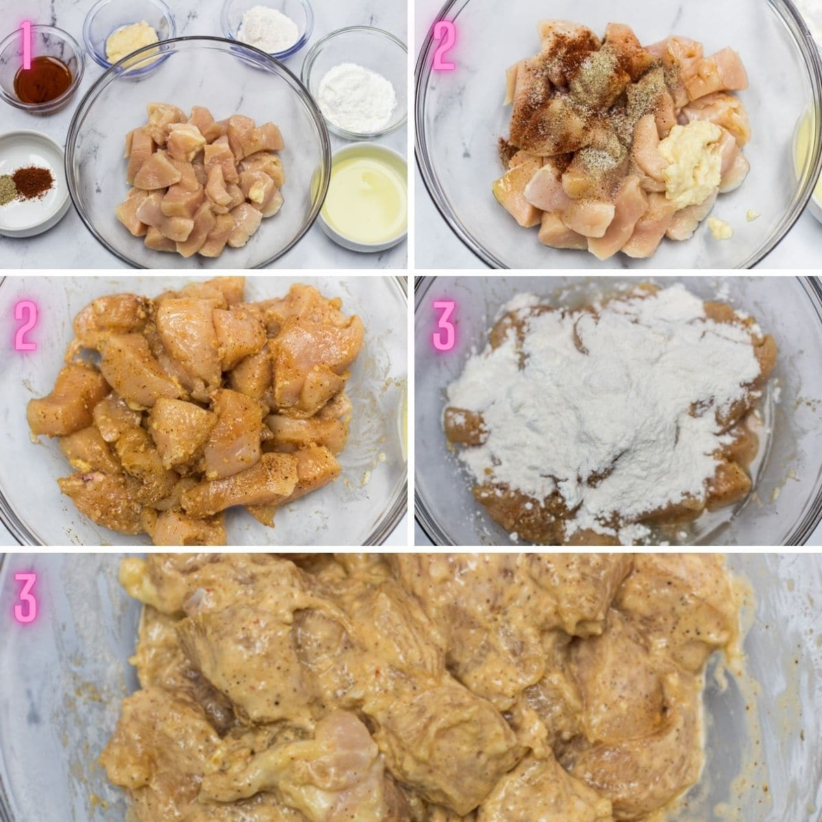 5 step by step photos of marinating the chicken.