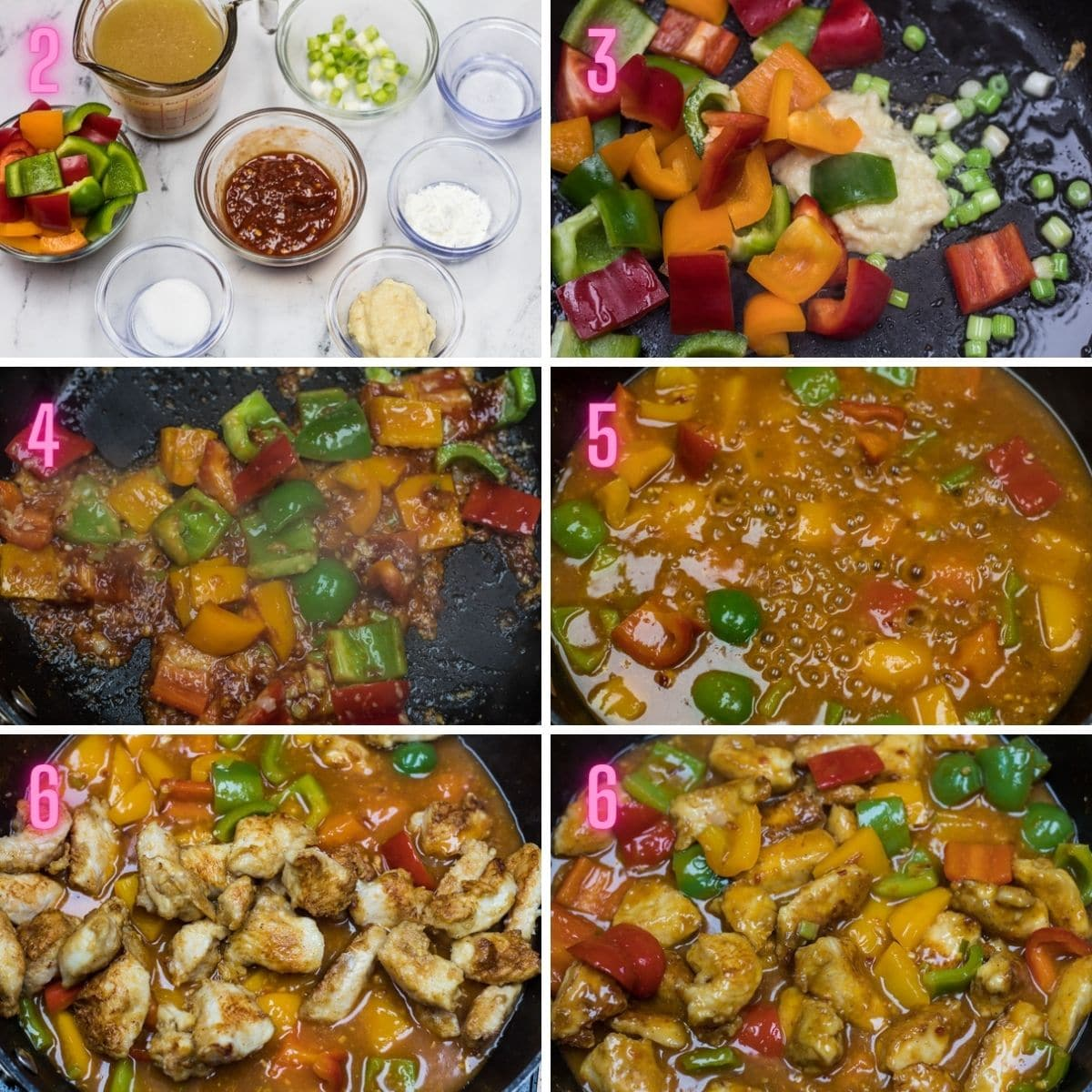 6 step by step process photos of cooking the manchurian sauce and tossing fried chicken.