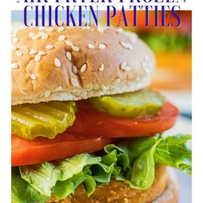 Air Fryer Frozen Chicken Patties pin with text header.