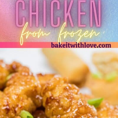 Tall pin with 2 images of the air fryer frozen orange chicken.