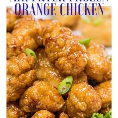Air fryer frozen orange chicken pin with text header.
