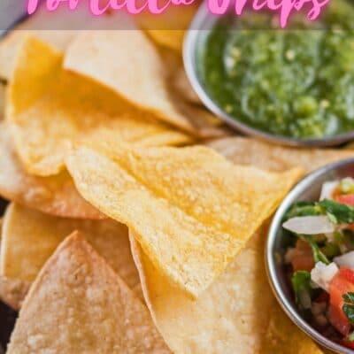 Air fryer tortilla chips pin med header tekst overlay.