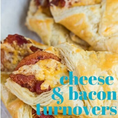 Cheese and bacon turnovers pin with text overlay.