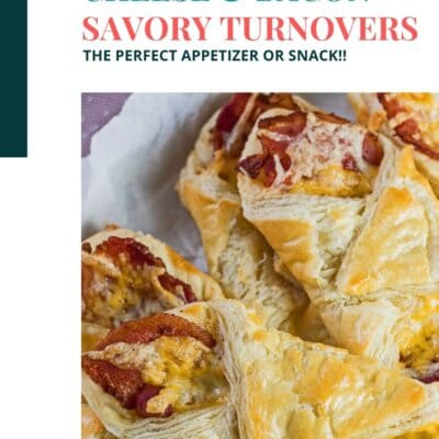 Cheese and bacon turnovers pin with color block text header.