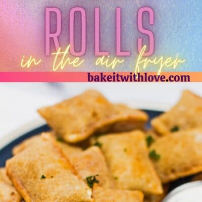 Tall pin with 2 images of the plated frozen pizza rolls after cooking in air fryer.