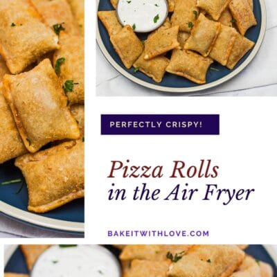 Collage pin with 3 images of the plated frozen pizza rolls after air frying.