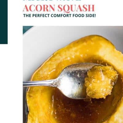 Stift med färgblocktextrubrik och bild av mikrovågs ekollon squash i vit skål.