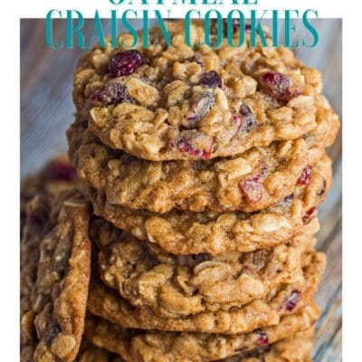 Oatmeal craisin cookies pin with text header.