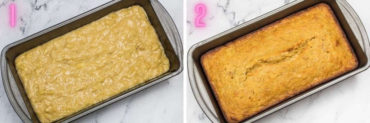 2 step by step process photos of baking the pineapple banana bread.
