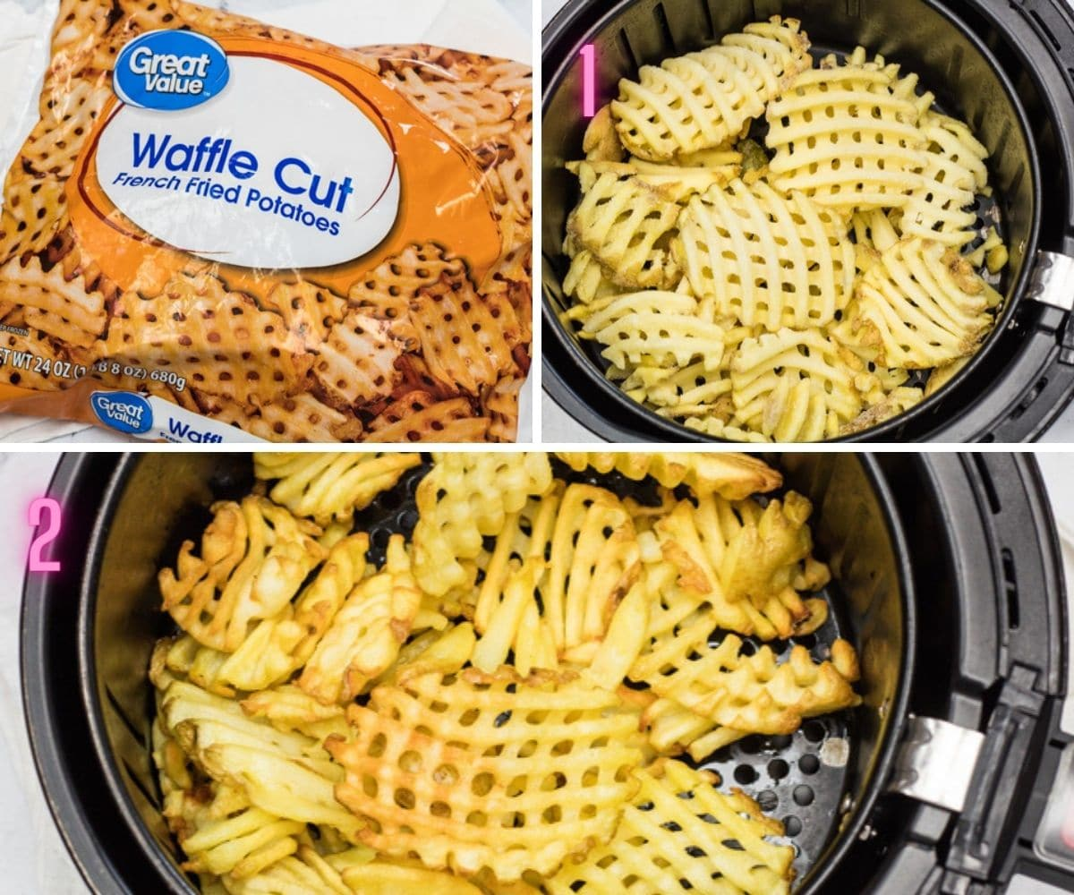 3 step by step process photos of air frying the waffle fries.