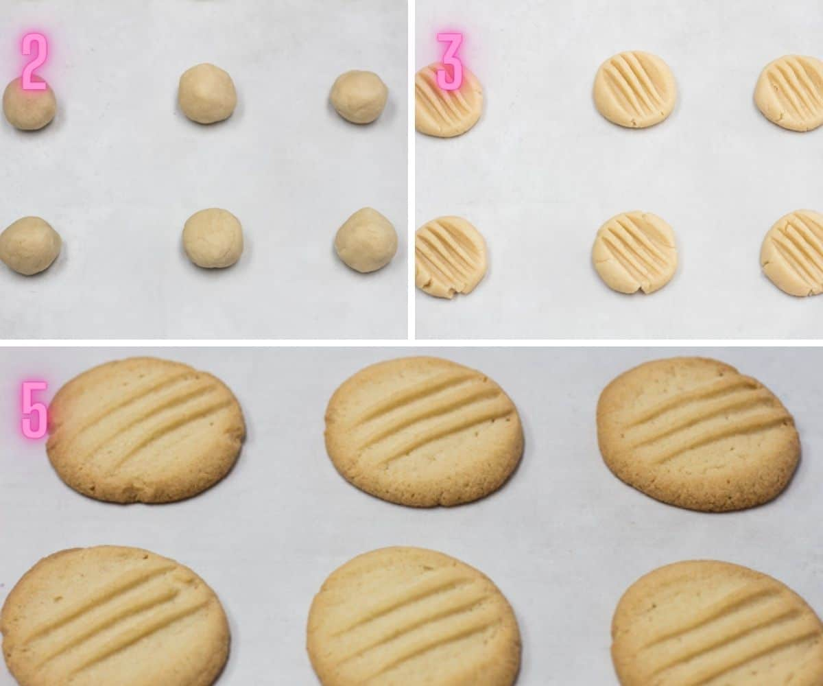 3 step by step process photos of shaping and baking the fork biscuits.