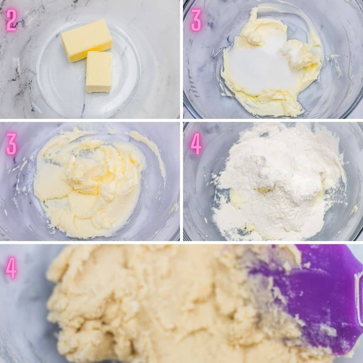 5 step by step process photos of mixing the fork biscuit dough.