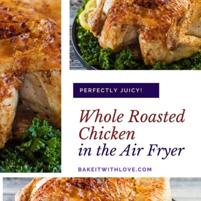 Collage pin with 3 images of the air fryer whole chicken roasted and served with parsley garnish.