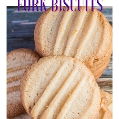 Golden baked fork biscuits stacked and randomly arranged with text header.