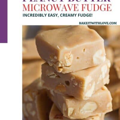 Pin de bloque de color para fudge de mantequilla de maní para microondas con imagen de fudge apilado