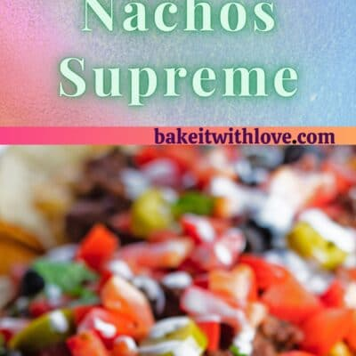 2 images of nachos with text divider.