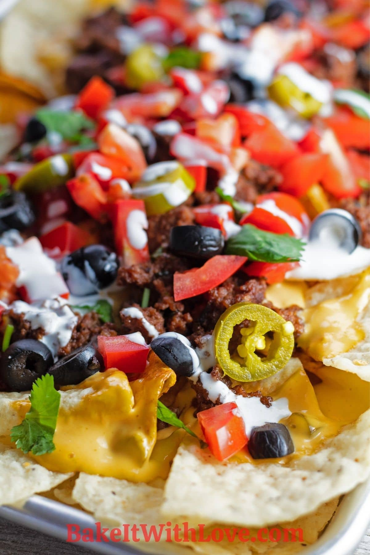 Close up of loaded nachos supreme with nacho toppings.