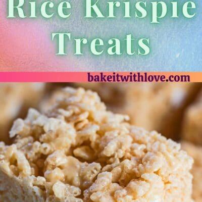 2 imágenes de golosinas Rice Krispies con mantequilla de maní.