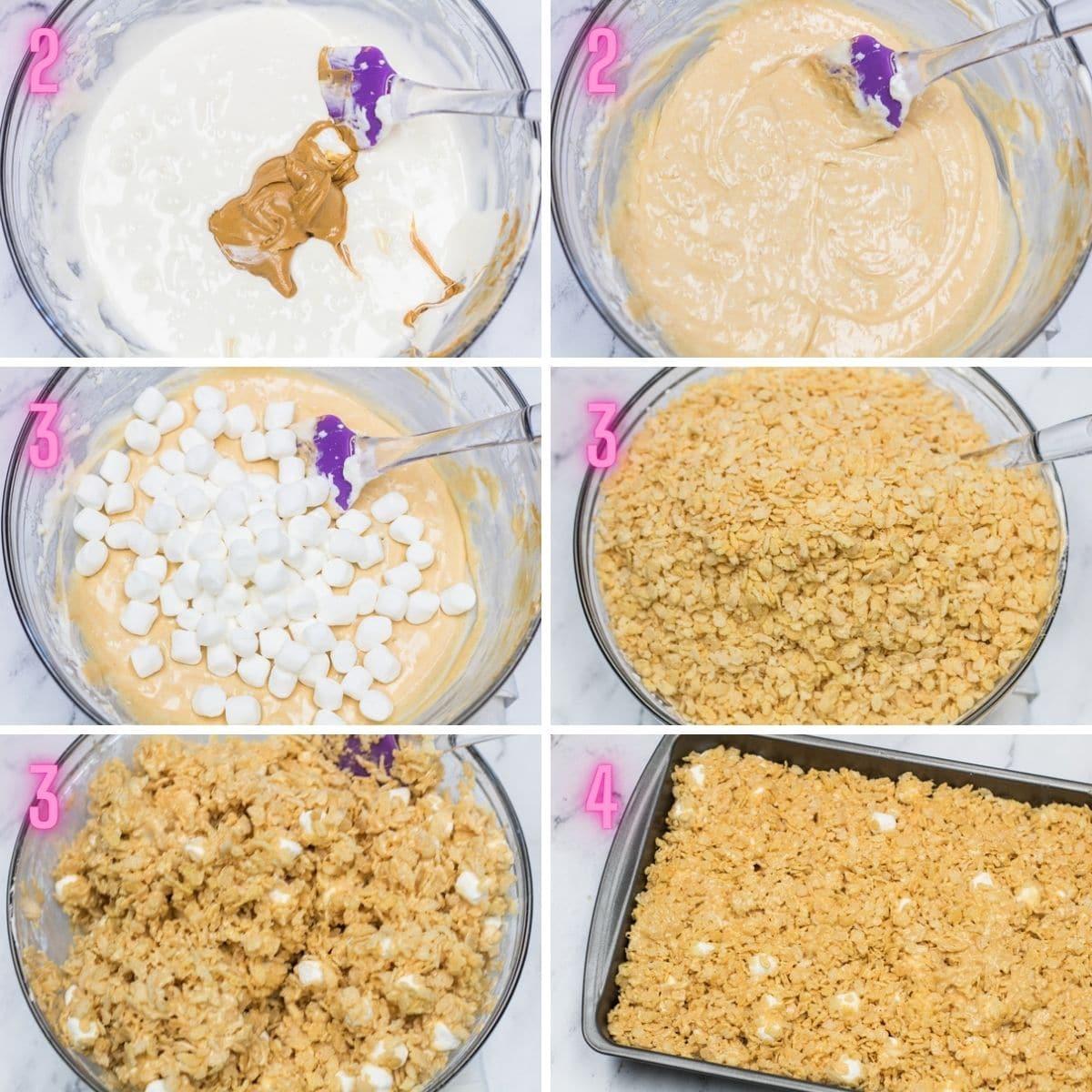 Los krispies de arroz con mantequilla de maní tratan las tomas de proceso.