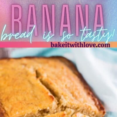 Tall pin with 2 images of the pineapple banana bread sliced to serve.
