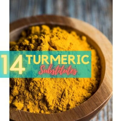 Turmeric substitute pin with ground turmeric in bowl and text overlay.