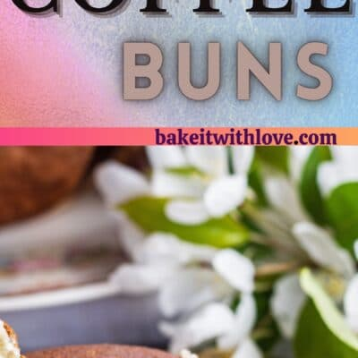 Coffee Bun on a floral plate.