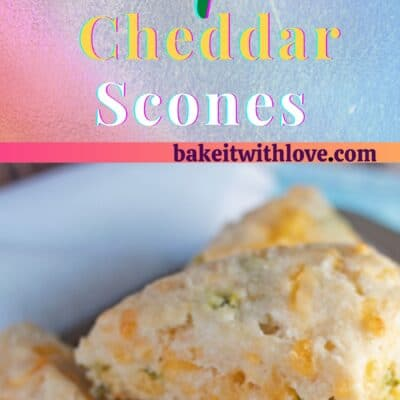 2 Images of Jalapeno Cheddar Scones piled up on a baking tray with a blue and white background.