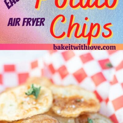Tall pin with 2 images of the air fryer potato chips with text divider.