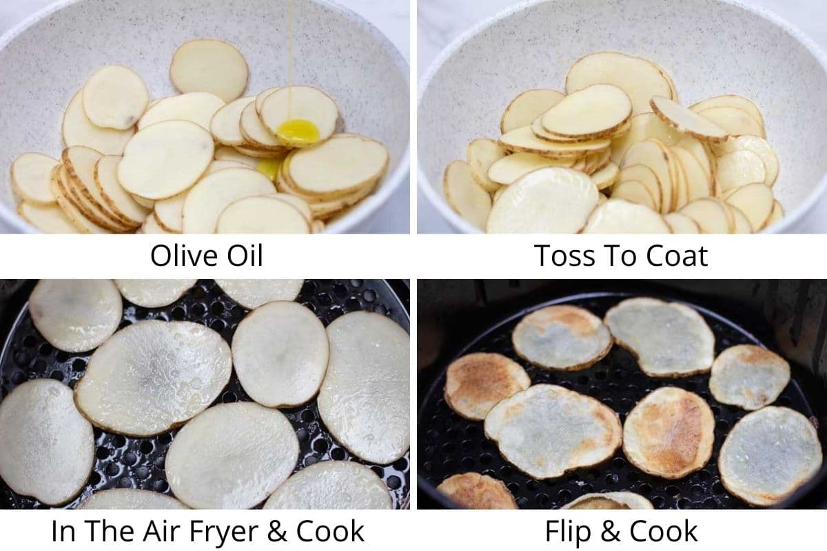 Air fryer potato chips process photos, drizzle with olive oil, toss, and air fry.